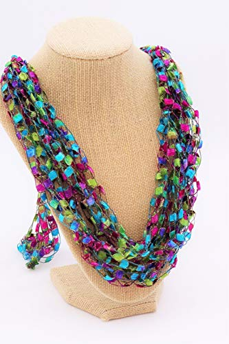 CROCHETLACES Adjustable LIGHTWEIGHT Yarn Necklace Scarf- Color Stained Glass