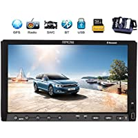 Reversing Camera+EinCar 7 Double Din Car Stereo with Capacitive Touch Screen In Dash GPS Navigation Car DVD Player Bluetooth AM FM Radio Head Unit System iPod+Remote Control