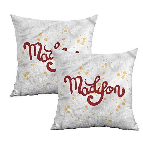 Khaki home Madison Square Standard Pillowcase Cursive Alphabet Design Square Zippered Pillowcase Cushion Cases Pillowcases for Sofa Bedroom Car W 20