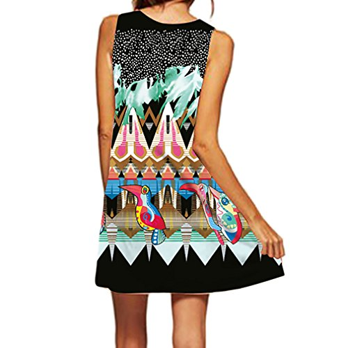 Honghu Verano Vestido Sin Mangas Moda Impresión para Mujer Mini Printing Dress Multicolor