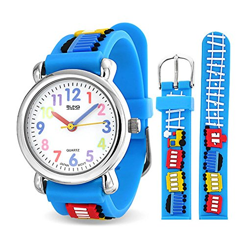 Bling Jewelry Choo Choo Train Waterproof Wrist Watch Time Teacher Quartz 3D Cartoon Blue Silicone Wristband Round Colorful Dial from Bling Jewelry