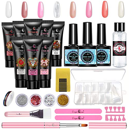 Poly Nail Gel Kit, 8 Colors Acrylic Nail Extension Gel Nail Enhancement Starter Kit, Clear Nude White Crystal Builder Gel All-in-one Nail Art Design Set by means of Finger Queen