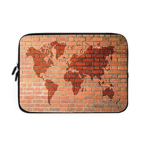 Swiss Army Atlas - Rustic Home Decor Laptop Sleeve Bag,Neoprene Sleeve Case/Brick Wall with World Atlas Map Reflection Pattern Contemporary Artful Scene/for Apple MacBook Air Samsung Google Acer HP DELL Lenovo