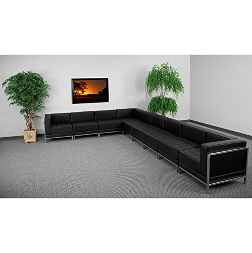 - Flash Furniture HERCULES Imagination Series Black Leather Sectional Configuration, 9 Pieces