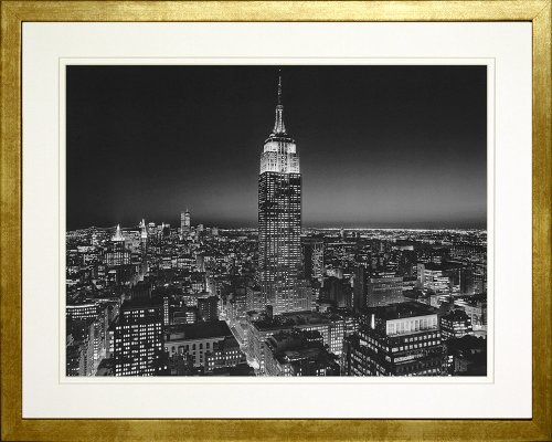 (Empire State Building at Night, New York by Henri Silberman. Framed Photo Poster. Custom Made Real Wood Modern Scratched Gold Frame (21 1/8 x 17 1/8) )