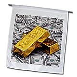 3dRose fl_155096_1 Gold Bars Bar Bullion Cash Money Dollar Hundred Bill Bills Bank Note Banknote Finance Concept Garden Flag, 12 by 18-Inch