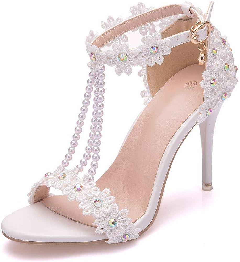 Amazon.com | BESOOGII Elegant White Lace Rhinestone Pearls Women ...
