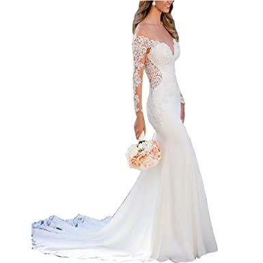 9ad7ee5860 Chady Sexy V-Neck Lace Mermaid Wedding Dresses 2019 Long Sleeves Illusion  Backless Beach Wedding Dresses at Amazon Women's Clothing store: