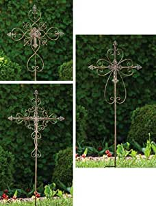 Ornate Cross Garden Stake,Metal,20x0.75x48.5 Inches,Assorted 3