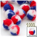 The Crafts Outlet 1,000-Piece Multi purpose Pom Poms, Acrylic, 38mm/about 1.5-inch, round, Tri-Color Red White and Blue