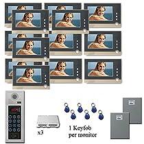 Multi Tenant Video Intercom 13 seven inch color monitor door entry
