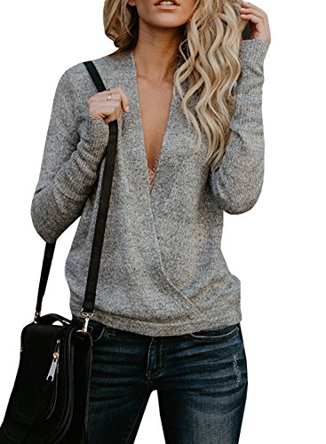 252f3dc6d5 Seraih Womens Fuzzy Sherpa Fleece Long Sleeve Sweaters Loose Asymmetric  Pullovers Coat · Nulibenna Womens Wrap Deep V Neck Sweater Knitted Long  Sleeve ...