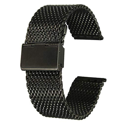 Unisex Chainmail - FidgetKute 18mm Unisex Stainless Steel Chainmail Watch Strap Band Black Z3W4 Show One Size