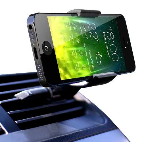 Koomus Air Vent Universal Smartphone Car Mount Holder Cradle for all iPhone and Android devices - Retail Packaging - Black