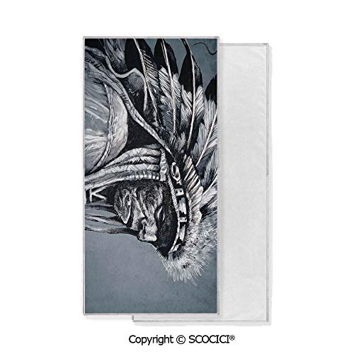 Long-Lasting and Soft Lightweight Quick-Dry Polyester Towel,Hand Drawn Tribe Chief with Feathers Vintage Style Ethnic Art (15x30 inch),Suitable For Camping, Running, Cycling, Gym,Highly Absorbent Cle -
