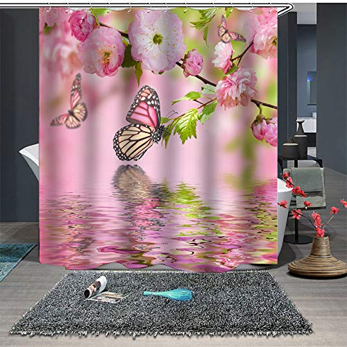 Maxwelly Peach Blossom Shower Curtain Blooming Spring Flower Butterfly Bathroom Shower Curtain Set with Hooks for Home Decoration Pink - Waterproof 72x72