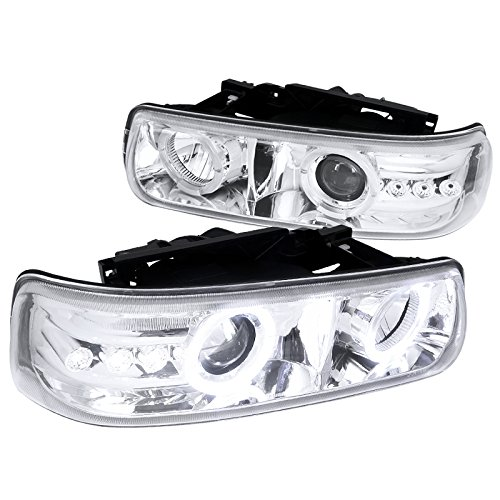 Spec-D Tuning LHP-SIV99-RS Chevy Silverado Tahoe Suburban Chrome Halo LED DRL Projector Headlights
