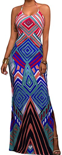 DH-MS Dress Women's Bright Geometric Pattern Boho Style Maxi Dress with Slit