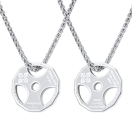 U7 Men Fitness Dumbbell Necklace Stainless Steel Weight Plate Barbell Chain Pendant Necklace