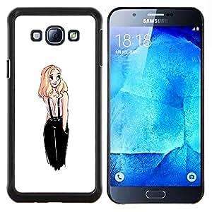 BearCase / Cubierta de protección Caso duro de la contraportada de Shell Plástico /// Samsung Galaxy A8 ( A8000 ) /// Dulce lindo dibujo White Girl Rubio