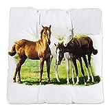 Tufted Chair Cushion Trio of Horses