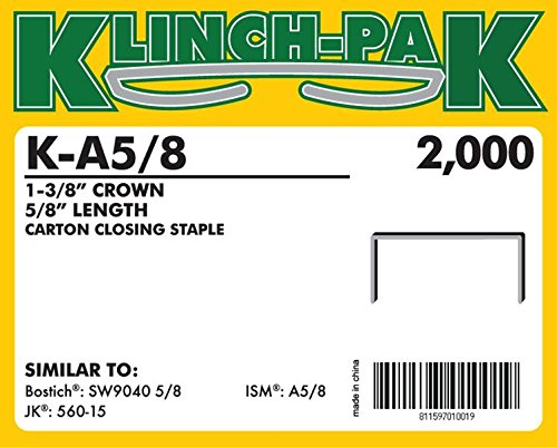 AXXIS-K-A-5//8 5//8 Klinch-Pak Stick Staples 10 Boxes Per Case