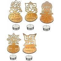 Kriwin Laxmi, Ganesh, Om, Swastik, and Buddha Shadow Home Decor Diyas with 5T Lights - Set of 5