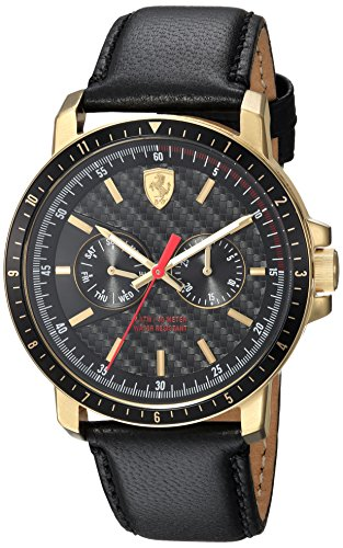Ferrari Men's 'TURBO' Quartz Stainless Steel and Leather Casual Watch, Color:Black (Model: 830451)