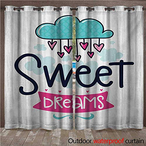 Outdoor Hanging Estrella (WilliamsDecor Sweet Dreams Outdoor Balcony Privacy Curtain Cartoon Hanging Hearts from a Cloud with Scale Pattern Simplistic Kids Design W84 x L84(214cm x 214cm))