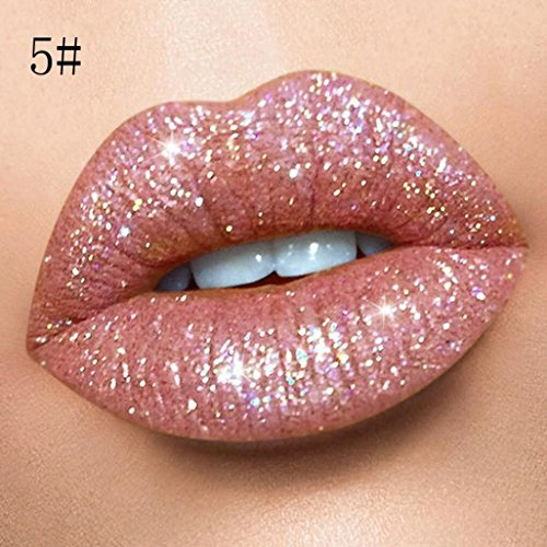 HP95(TM) Liquid Velvet Glitter Lipstick,Matte & Shiny Lipstick Makeup Lip Gloss Waterproof Long Lasting (5#)