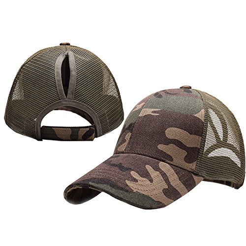 Alljoin Ponytail Baseball Cap Hat Ponycap Messy High Bun Ponytail Adjustable Mesh Trucker Baseball Cap Hat For Women Men Girl (Camouflage green)
