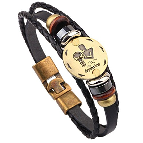 HIRIRI Hot Sale Unisex 12 Constellations Bracelet Fashion Jewelry Alloy Leather Bracelet Personality Bracelet Gift (Aquarius)