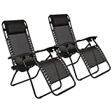 New Zero Gravity Chairs Case Of (2) Black Lounge Patio Outdoor Yard Beach Chairs! #263