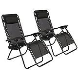 Set of 2 Zero Gravity Chairs Lounge Patio Chairs Outdoor Yard Beach Black New