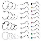 D.Bella 18G Nose Rings Hoop Stainless Steel