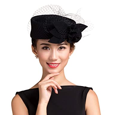 6570fb4b42c Image Unavailable. Image not available for. Color  Womens Flower Felt Hat  Winter Wool Pillbox Hats ...
