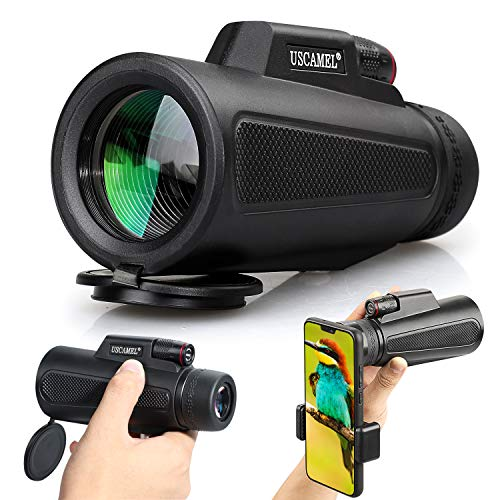 USCAMEL 10x42 Compact Monocular, High Power Low Night Vision Waterproof Telescope with Smartphone Photography Adapter for Bird Watching, Hiking, Camping, Sightseeing, Travelling, Concert