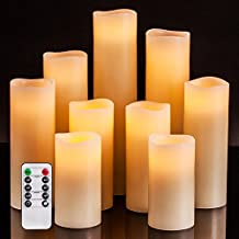 """Flameless Candles Battery Operated Candles 4"""" 5"""" 6"""" 7"""" 8"""" 9"""" Set of 9 Ivory Real Wax Pillar LED Candles with 10-key Remote and Cycling 24 Hours Timer"""