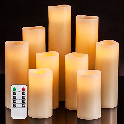 Flameless Candles Battery Operated Candles 4' 5' 6' 7' 8' 9' Set of 9 Ivory Real Wax Pillar LED Candles with 10-key Remote and Cycling 24 Hours Timer