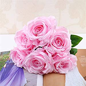 Artificial Fake Flowers Silk Artificial Roses 9 Heads Bridal Wedding Bouquet for Home Garden Party Wedding Decoration (Pink) Silk Flowers Real Touch Fake Dandelion Bouquet 7