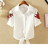 Embroidery Blouse Shirts Womens Crop Tos Floral Feminine Blouses Summer Plus Size Blusas Female Shirt