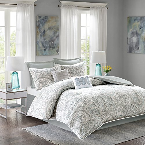 Comfort Spaces Kashmir Comforter Set - 8 Piece - Paisley Pattern - Blue, Grey, Green - King - 1 Comforter, 2 Shams, 1 Bedskirt, 2 Euro Shams, 2 Décorative Pillows (Bedding King Bedskirt)