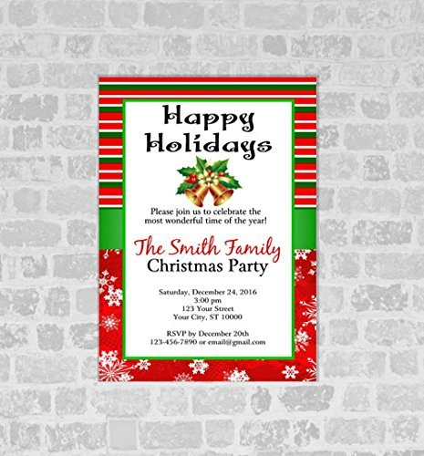 Christmas Party Invitations, Green and Red Stripes Holiday Christmas Party Invites, Christmas Bells, Snowflakes Invitations