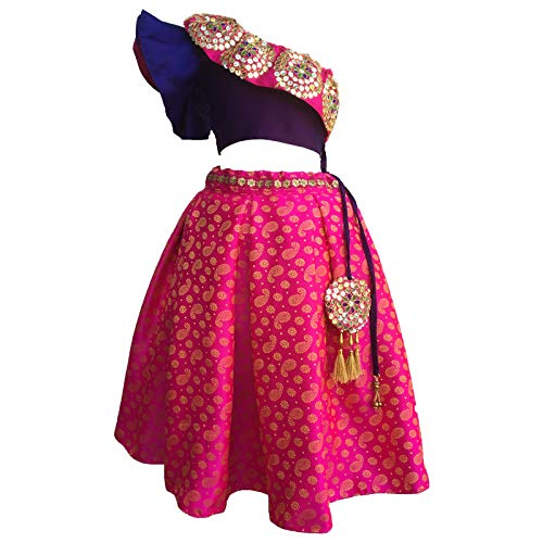 Firststepp Girls's lehanga, Bridal Lehenga, Lehenga for Girls, Lehenga Choli for Girls Wedding.Indo Western. Purple