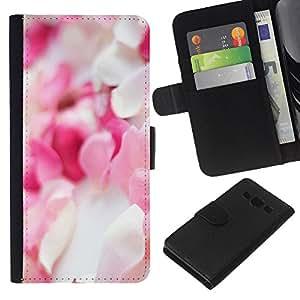 EJOY---La carpeta del tirón la caja de cuero de alta calidad de la PU Caso protector / Samsung Galaxy A3 / --Pétalos de la flor blanca rosada Pila Decoración