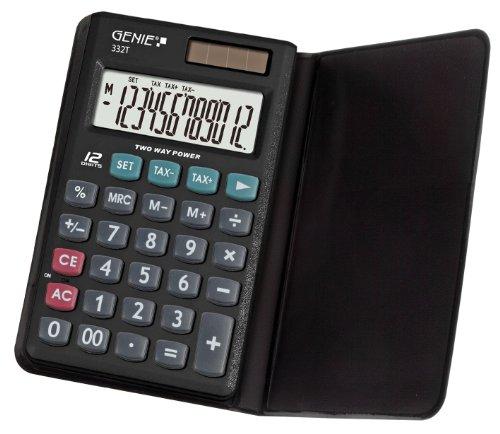 Genie 332T 12-stelliger Business-Taschenrechner (Dual-Power (Solar und Batterie), Inkl. Schutzetui) schwarz