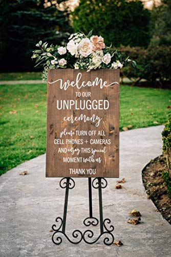 MarthaFox Unplugged Wedding Sign Unplugged Ceremony Sign Vertical Wooden Wedding Sign Rustic Wedding Decor -