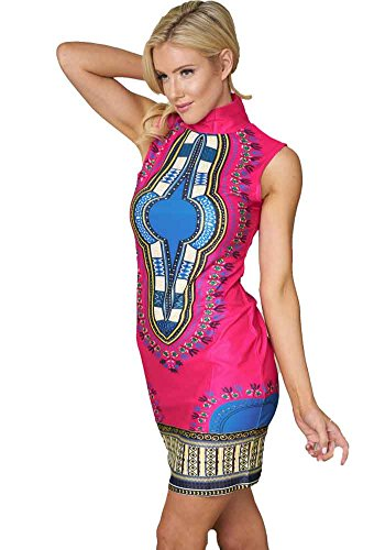 Bodycon4u Femmes Col Haut Moulante Traditionnelle Africaine Partie Imprimé Dashiki Club Extensible Mini Robe Rose