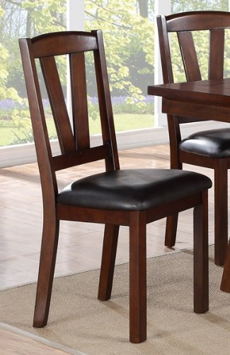 2 Pcs Poundex Dining Chair in Dark Walnut Finish