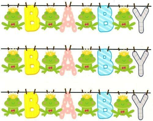 3 ~ BABY Shower Clothesline & Frog Designer Strip ~ Edible Cake / Cupcake Topper!!! ()